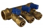 Коллектор 16 х 3/4 с 3-мя выходами, цанговым зажимом ф16 (SMS) -