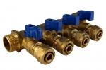 Коллектор 16 х 3/4 с 4-мя выходами, цанговым зажимом ф16 (SMS)
